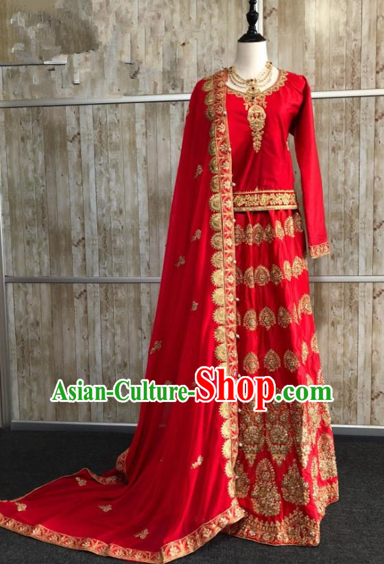 Asian  Indian Court Bride Wedding Red Embroidered Dress Traditional   India Hui Nationality Costumes for Women