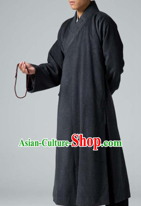 Traditional Chinese Monk Costume Buddhists Deep Grey Woolen Long Robe for Men