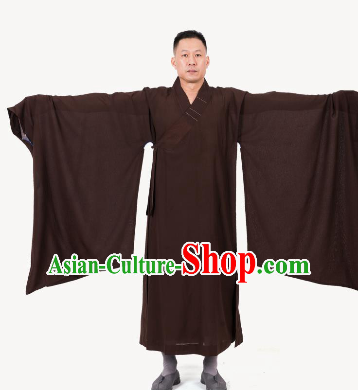 Traditional Chinese Monk Costume Buddhists Brown Yarn Long Robe for Men