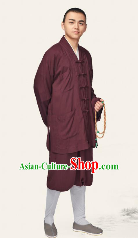 Traditional Chinese Monk Costume Meditation Purple Outfits Shirt and Pants for Men