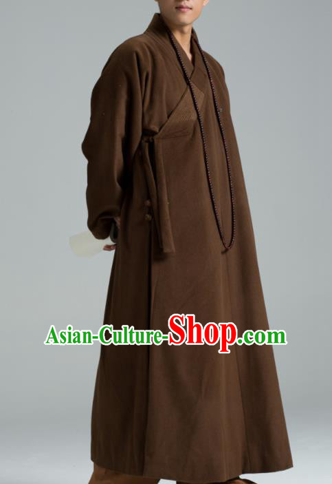 Traditional Chinese Monk Costume Buddhists Abbot Brown Woolen Gown for Men