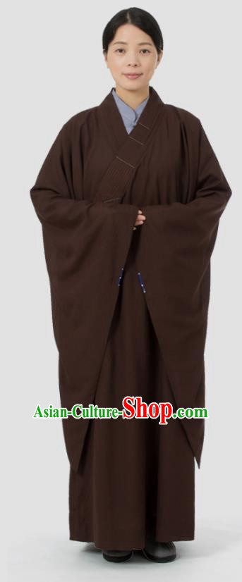Traditional Chinese Monk Costume Buddhists Abbot Brown Yarn Gown for Men
