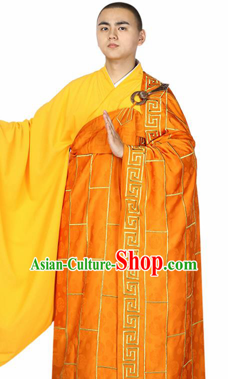 Traditional Chinese Monk Costume Buddhists Orange Cassock for Men