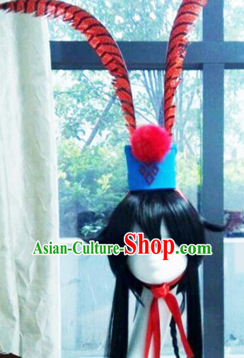 Traditional Chinese Cosplay Swordsman Nobility Childe Black Wigs and Headwear for Men