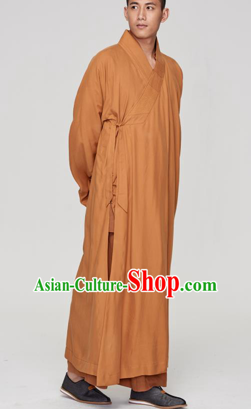 Traditional Chinese Monk Costume Buddhists Yellow Long Robe for Men