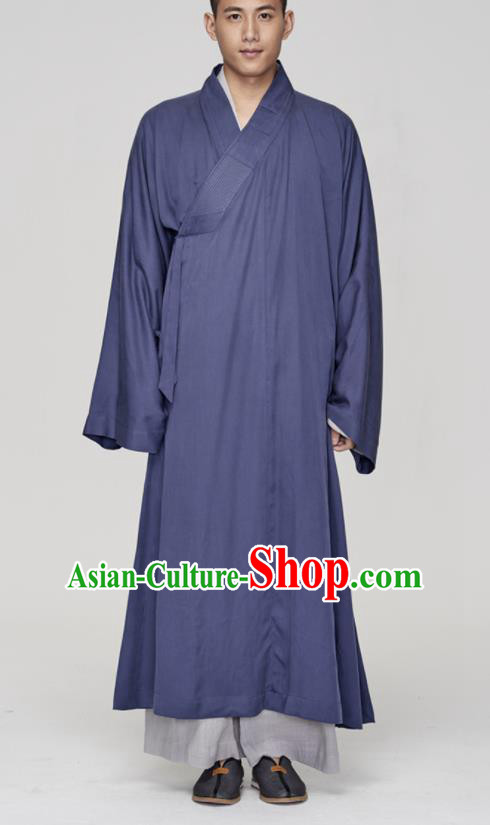 Traditional Chinese Monk Costume Buddhists Navy Long Robe for Men