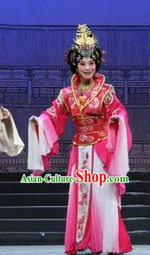 Traditional Chinese Henan Opera Seven Swords Diva Costumes Countess Pink Dress and Headwear for Women