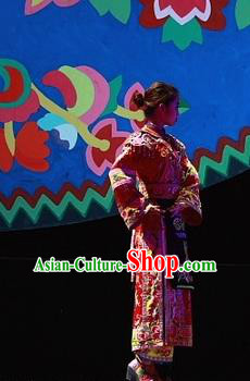 Phoenix Flying Qiang Dance Traditional Chinese Qiang Ethnic Minority Dance Bride Red Dress and Headwear for Women