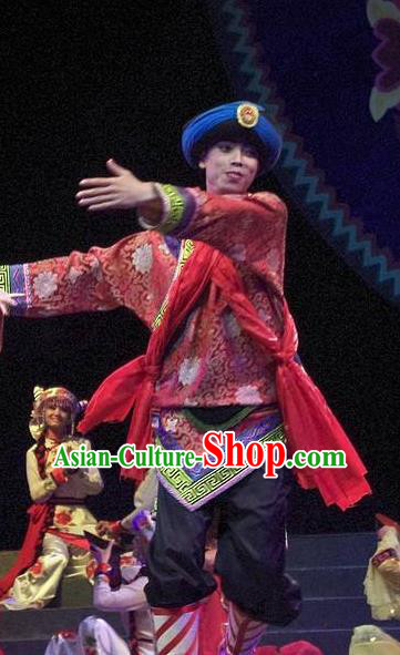 Phoenix Flying Qiang Dance Traditional Chinese Qiang Ethnic Minority Dance Wedding Red Costumes and Headwear for Men