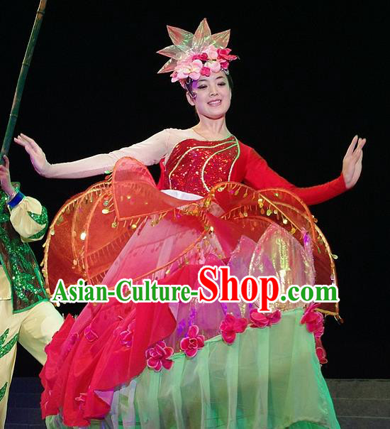 Phoenix Flying Qiang Dance Traditional Chinese Folk Dance Red Dress and Headwear for Women