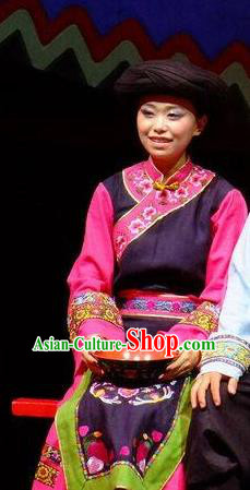Phoenix Flying Qiang Dance Traditional Chinese Qiang Nationality Dance Purple Dress and Headwear for Women