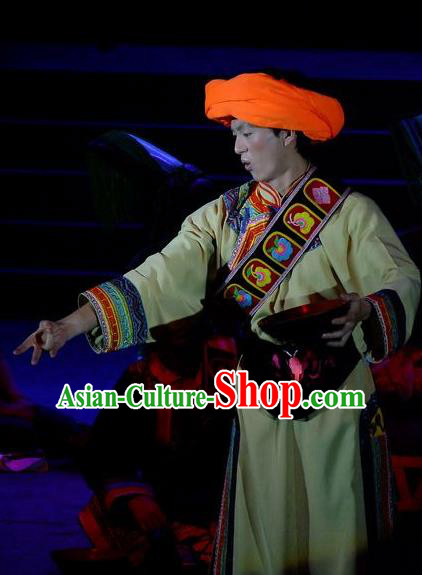 Phoenix Flying Qiang Dance Traditional Chinese Qiang Ethnic Minority Youth Dance Yellow Costumes and Headwear for Men