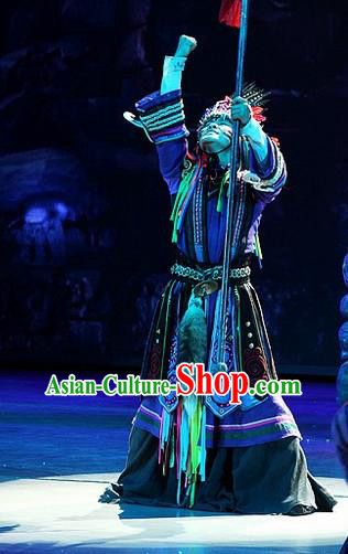 Phoenix Flying Qiang Dance Traditional Chinese Qiang Ethnic Minority Folk Dance Costumes and Headwear for Men
