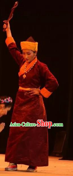 Lang SaWenBo Traditional Chinese Tibetan Nationality Dance Purplish Red Costume and Headwear for Women