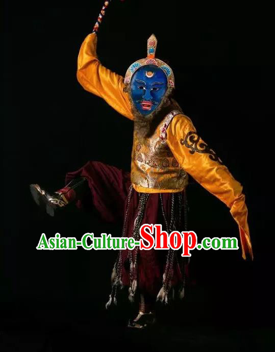 Lang SaWenBo Traditional Chinese Zang Nationality Shaman Stage Performance Golden Costumes and Headwear for Men