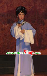 Bai Tu Ji Traditional Chinese Shaoxing Opera Diva Purple Costume and Headwear for Women