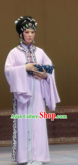 Bai Tu Ji Traditional Chinese Shaoxing Opera Diva Lilac Costume and Headwear for Women