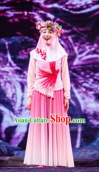 Flowers and Trumpeter Traditional Chinese Hui Nationality Pink Dress Stage Show Costume and Headwear for Women