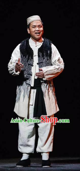 Flowers and Trumpeter Traditional Chinese Hui Nationality Stage Performance Costumes and Headwear for Men