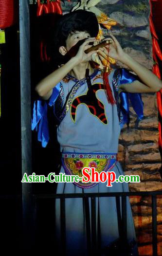 Phoenix Flying Qiang Dance Traditional Chinese Qiang Ethnic Minority Youth Dance Blue Costumes and Headwear for Men