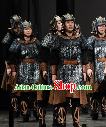 The Book of Songs Cai Wei Traditional Chinese Ancient Soldier Stage Performance Costumes and Headwear for Men