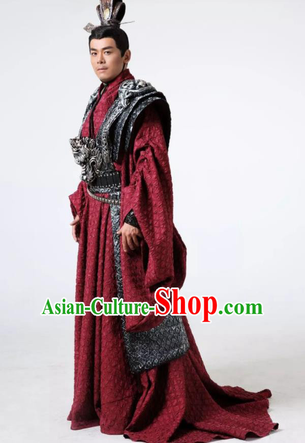 The Book of Songs Cai Wei Traditional Chinese Ancient Prince Stage Performance Costumes and Headwear for Men