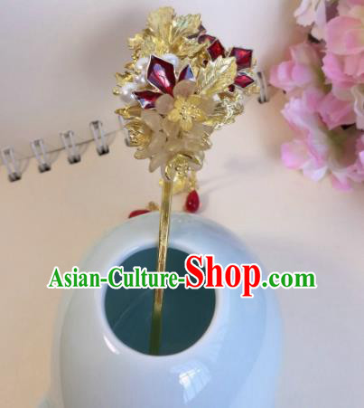 Traditional Chinese Classical Maple Leaf Tassel Hairpins Ancient Hanfu Hair Accessories for Women