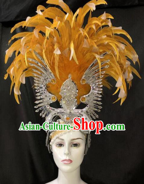 Top Halloween Yellow Feather Hat Brazilian Carnival Samba Dance Hair Accessories for Women