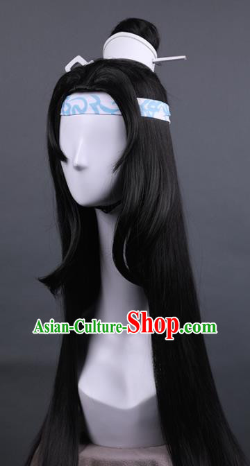 Traditional Chinese Cosplay Prince Wigs Ancient Swordsman Hair Accessories for Men