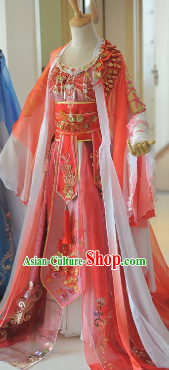 Chinese Cosplay Tang Dynasty Princess Red Dress Ancient Female Swordsman Heroine Costume for Women
