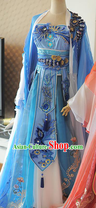 Chinese Cosplay Tang Dynasty Princess Blue Dress Ancient Female Swordsman Heroine Costume for Women