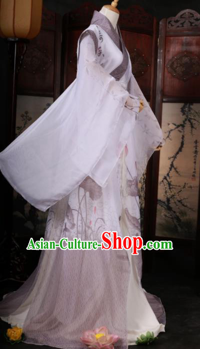 Traditional Chinese Cosplay Swordsman Ink Painting Lotus White Clothing Ancient Nobility Childe Costume for Men