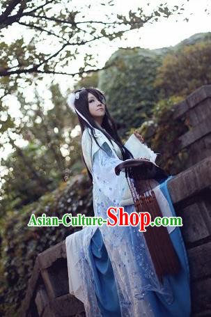 Traditional Chinese Cosplay Female Knight Swordsman Blue Dress Ancient Princess Costume for Women