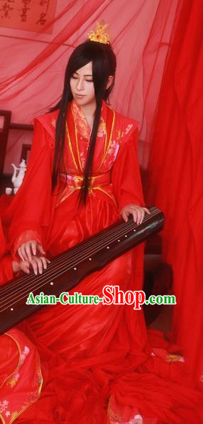Traditional Chinese Cosplay Swordsman Wedding Red Clothing Ancient Prince Nobility Childe Costume for Men