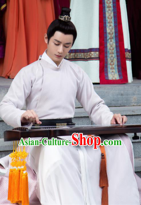 Ancient Chinese Song Dynasty Nobility Childe White Hanfu Clothing Drama Young Blood Swordsman Costumes for Men