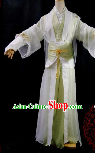 Traditional Chinese Cosplay Scholar Green Clothing Ancient Swordsman Costume for Men