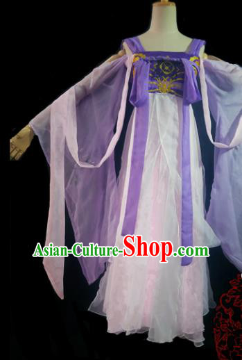 Chinese Cosplay Tang Dynasty Female Swordsman White Dress Ancient Princess Peri Costume for Women