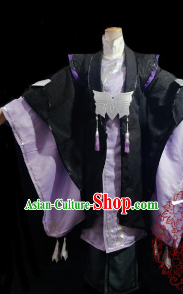 Traditional Chinese Cosplay Royal Highness Purple Clothing Ancient Swordsman Costume for Men