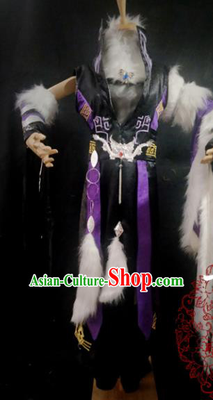 Traditional Chinese Cosplay Young Hero Purple Clothing Ancient Swordsman Costume for Men