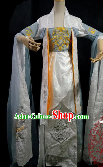 Chinese Cosplay Tang Dynasty Female Swordsman White Embroidered Dress Ancient Princess Peri Costume for Women