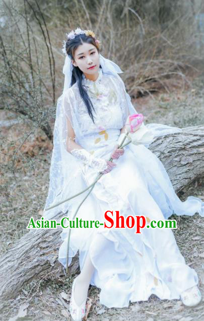 Chinese Cosplay Female Swordsman White Dress Ancient Princess Peri Costume for Women