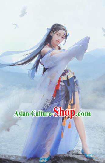 Chinese Cosplay Female Swordsman Blue Dress Ancient Princess Peri Costume for Women