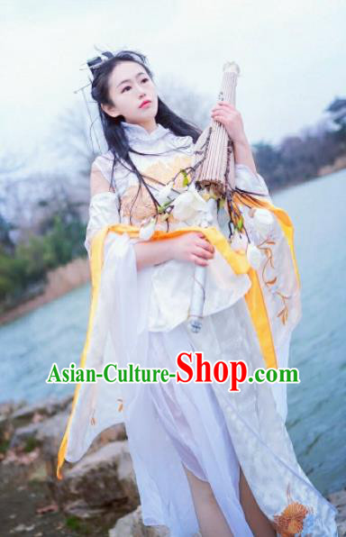 Chinese Cosplay Heroine Female Swordsman White Dress Ancient Princess Peri Costume for Women