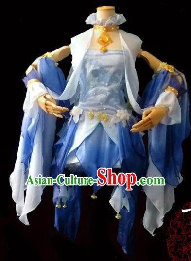 Chinese Cosplay Heroine Female Swordsman Blue Short Dress Ancient Princess Peri Costume for Women