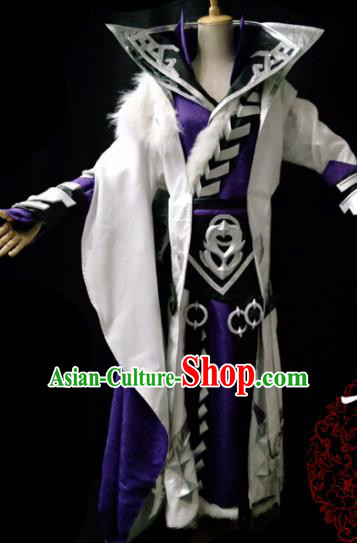 Traditional Chinese Cosplay Taoist Priest Purple Clothing Ancient Swordsman Costume for Men