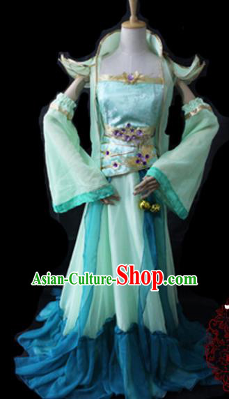 Chinese Cosplay Game Fairy Princess Green Dress Ancient Female Swordsman Knight Costume for Women