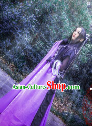 Chinese Cosplay Princess Deep Purple Dress Ancient Female Swordsman Knight Costume for Women