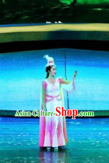 Chinese Drama Dragon Boat Festival Classical Dance Pink Dress Stage Performance Costume and Headpiece for Women