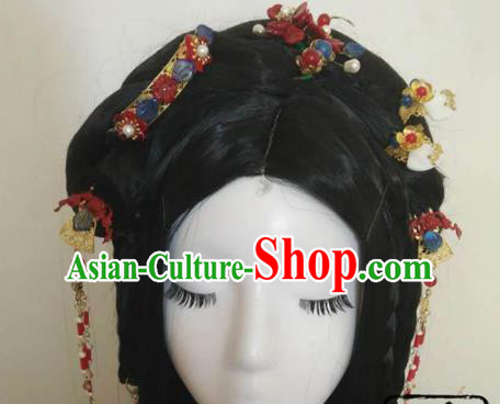 Traditional Chinese Classical Red Flowers Hairpins Hair Combs Ancient Princess Hanfu Hair Accessories for Women
