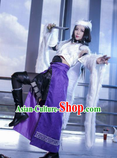 Chinese Cosplay Heroine Female Swordsman Purple Dress Ancient Princess Peri Costume for Women